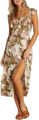 Billabong Love Tripper Ruffle Trim Midi Dress