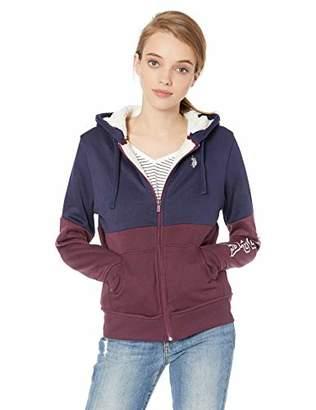 U.S. Polo Assn. Women's Two Color Sherpa Lined Fleece Hooded Jacket