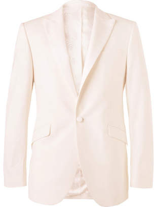 Favourbrook Ivory Theobald Slim-Fit Faille-Trimmed Herringbone Cotton Tuxedo Jacket