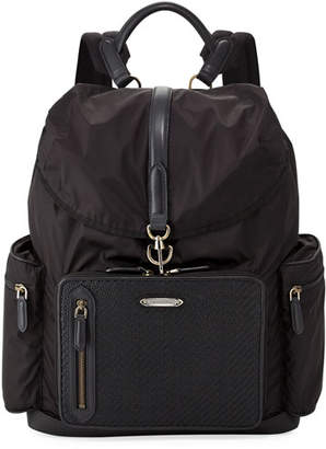 Ermenegildo Zegna Pelle Tessuta Leather & Nylon Backpack