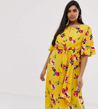 PrettyLittleThing Plus Plus midi dress with tie waist in yellow floral