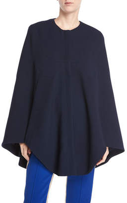 Derek Lam Jewel-Neck Seamed Short Cape Coat