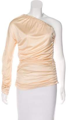 Michael Kors Pleated Silk One-Sleeve Top
