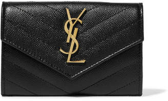 Saint Laurent Quilted Textured-leather Wallet - Black