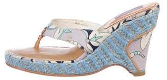 Emilio Pucci Printed Canvas Thong Sandals