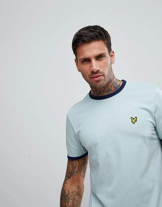 Lyle & Scott Crew Neck Ringer T-Shirt In Pale Blue