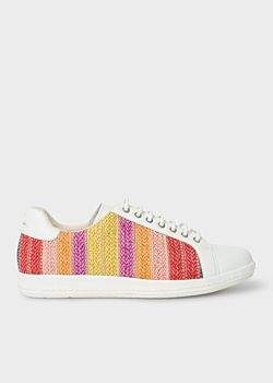 Paul Smith Women's White Leather 'Lapin' Trainers With Multi-Coloured Raffia Detail