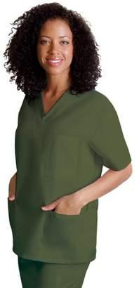 Adar Medical Universal Basics by Adar Women's V Neck 3 Pocket Solid Scrub Top