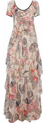 Temperley London Shire Ruffled Printed Fil Coupe Georgette Maxi Dress