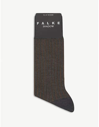 Falke Mens Grey Cognac Ribbed Cotton Shadow Socks