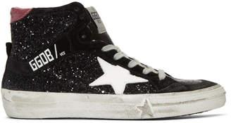 Golden Goose Black Glitter Mid-Top Sneakers