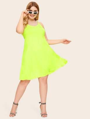 Shein Plus Neon Green Backless Swing Cami Dress