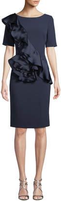 Badgley Mischka Silk Ruffle-Front Sheath Dress