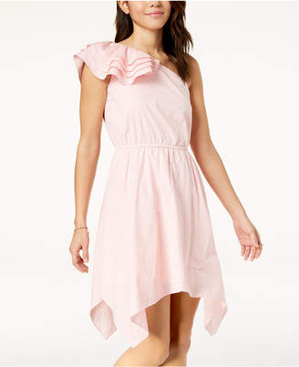 The Edit By Seventeen Juniors' Gingham One-Shoulder Dress, Created for Macy's