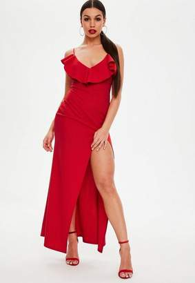 Missguided Petite Red Frill Maxi Dress