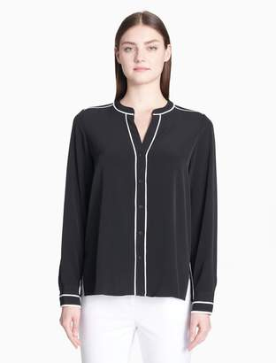 Calvin Klein piped v-neck button-down blouse