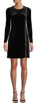 French Connection Asymmetric Goldtone-Zip Velvet Dress