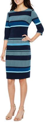 Melrose 3/4 Sleeve Stripe Sheath Dress
