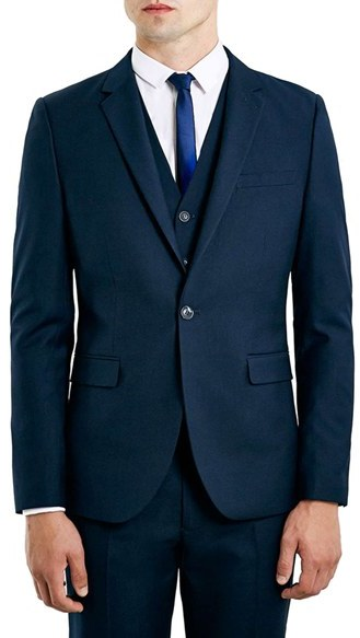 Men's Topman Navy Skinny Fit Suit Jacket
