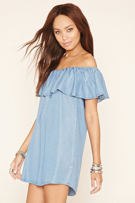 FOREVER 21 Chambray Flounce Dress $22.90 thestylecure.com