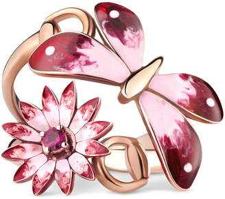 Gucci Flora ring in rose gold, enamel and rubies