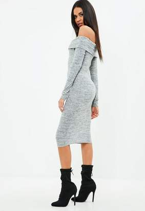 Missguided Grey Marl Foldover Bardot Long Sleeve Midi Dress, Grey