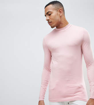 Asos Design DESIGN Tall muscle fit long sleeve t-shirt with turtle neck in pink