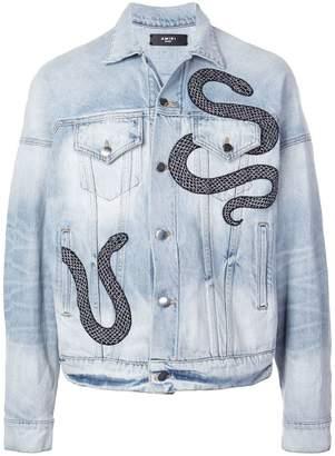 Amiri snake patch denim jacket