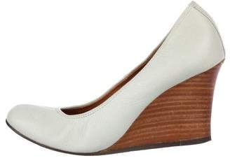 Lanvin Leather Stacked Wedges