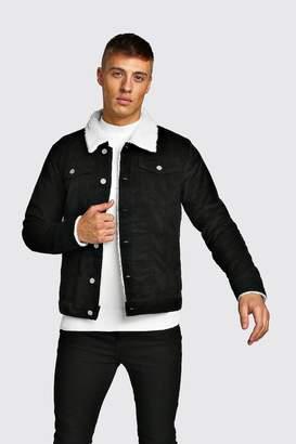 boohoo Cord Jacket With Borg Collar