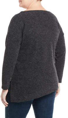 Rachel Roy Plus Betty Boat-Neck Side-Zip Asymmetric Knit Tunic, Plus
