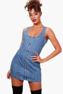 boohoo NEW Womens Zip Front Denim Bodycon Dress in Elastane
