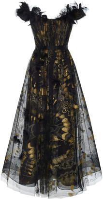 Marchesa Off-The-Shoulder Silk Organza Gown