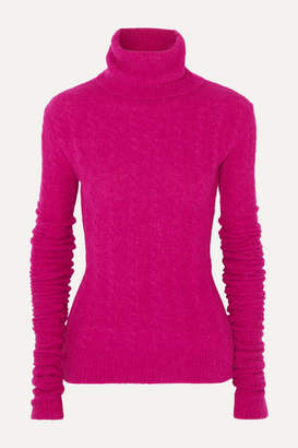 Jacquemus Sofia Cable-knit Alpaca-blend Turtleneck Sweater - Fuchsia