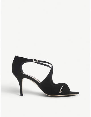 LK Bennett Blossom cross-strap suede courts