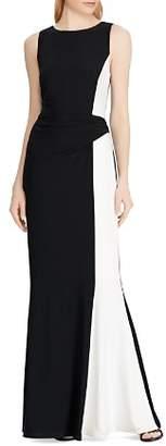 Ralph Lauren Color-Blocked Jersey Gown