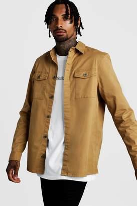 boohoo Washed Twill Utility Overshirt
