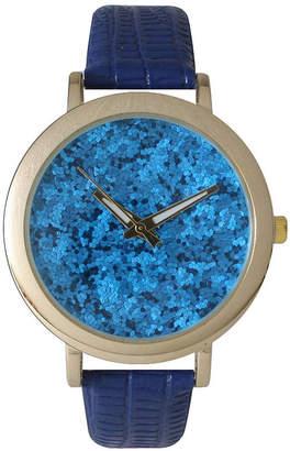 OLIVIA PRATT Olivia Pratt Womens Colored Metallic Stone Dial Royal Leather Watch 26359Royal