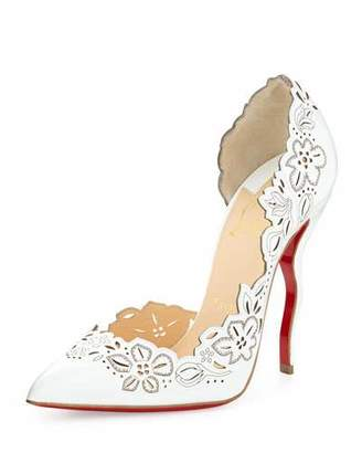 Christian Louboutin Beloved Laser-Cut Patent Red Sole Pump, White $1,045 thestylecure.com