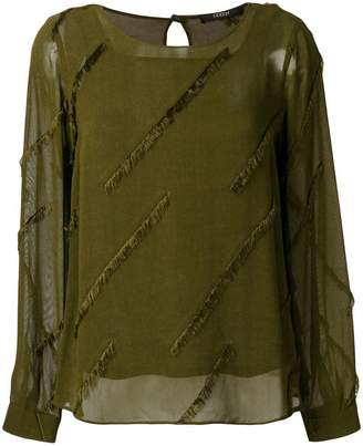 Odeeh frayed design blouse