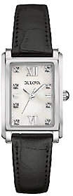 Bulova Women's Mother-of-Pearl & Black LeatherStrap Watch $250 thestylecure.com