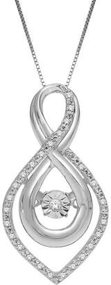 JCPenney FINE JEWELRY Love in Motion 1/10 CT. T.W. Diamond Sterling Silver Teardrop Pendant Necklace