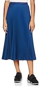 Prada Women's Logo-Waist Pleated Twill Midi-Skirt - Blue