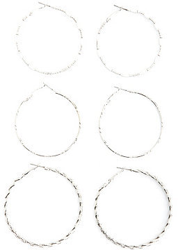Charlotte Russe Twisted & Textured Hoop Earrings - 3 Pack