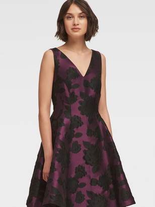 DKNY Floral Jacquard Fit-And-Flare Dress