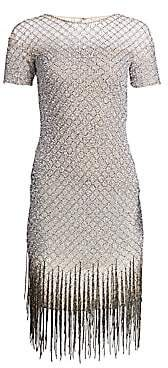 Pamella Roland Women's Sequin Fringe Hem Sheath Dress