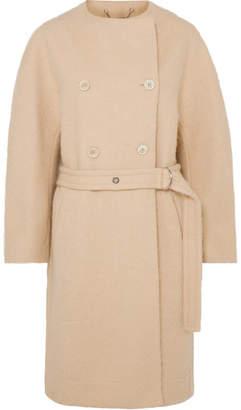 Chloé Belted Wool-blend Grain De Poudre Coat - Beige
