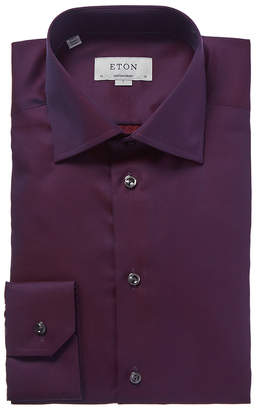 Eton Contemporary Fit Textured Solid Dress Shirt