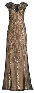 Aidan Mattox Beaded V-Neck Gown