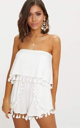 PrettyLittleThing White Jersey Bardot Tassel Playsuit